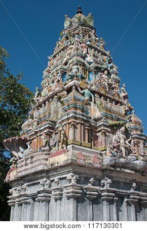Gopuram Against Blue Sky Background