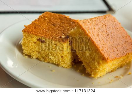 Two Pieces Of Cornbread Closeup