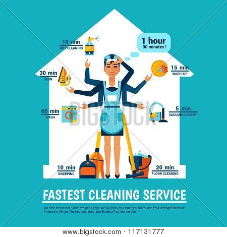 Woman Cleaning Vector Illustration