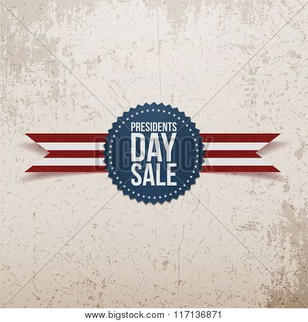 Presidents Day Sale USA Label with Ribbon
