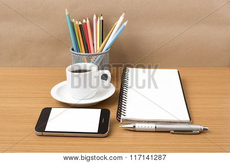 Coffee,phone,notepad And Color Pencil