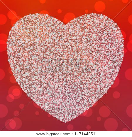 Valentines Day, Glistering White Heart On Red Background With Bokeh Abstract Card