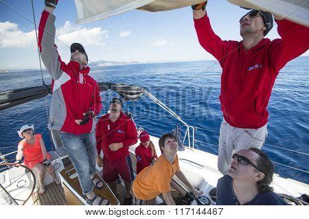 ERMIONI, GREECE - CIRCA MAY, 2014: Sailors participate in sailing regatta 11th Ellada 2014 among Greek island group in the Aegean Sea, in Cyclades and Argo-Saronic Gulf.
