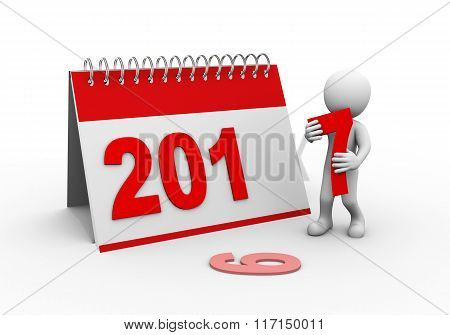 3D Person With 2017 Calender Illustration