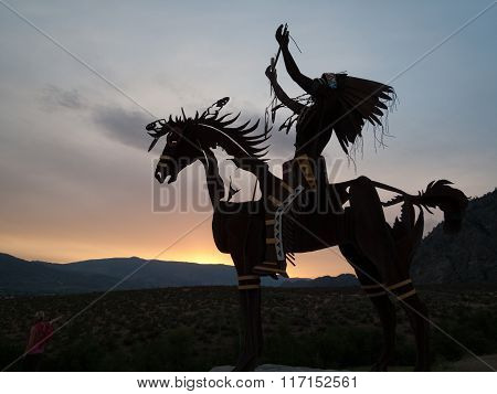 Native Sculpture At Sunset