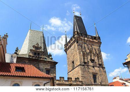 Lesser Town Bridge Tower And Judith's Tower Of Charles Bridge, Prague