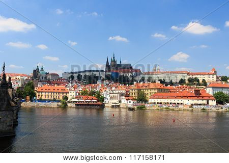 View Towards Prague Castle And Mala Strana (lesser Town) With Charles Bridge