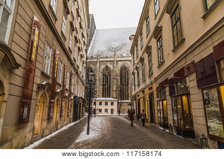 Part Of St. Stephen's Cathedral (stephansdom) From Churhausgasse During The Winter.