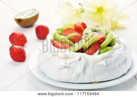 Delicious Cake With Kiwi And Strawberry