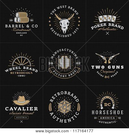 Set Of Hipster Vintage Labels, Logotypes, Badges For Your Business. Wild West Theme. Barrel, Scull,