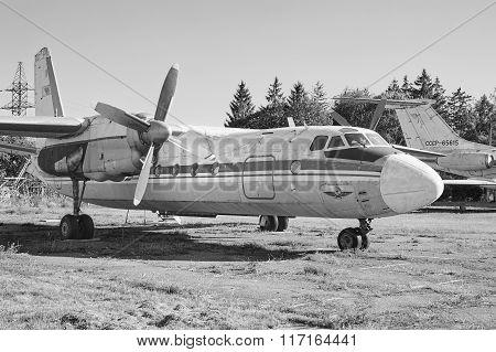 Panoramic View Of Old Soviet Aircraft An-24 Antonov At An Abandoned Aerodrome