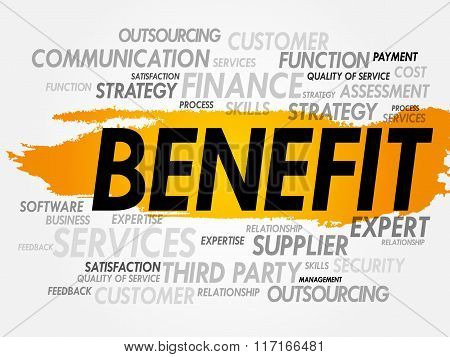 BENEFIT word cloud collage, business concept background