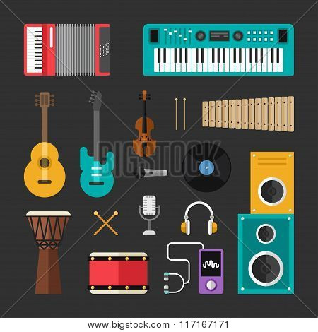 Set Of Vector Flat Style Musical Instruments And Music Tools Icons. Guitar, Drums, Speaker, Headphon