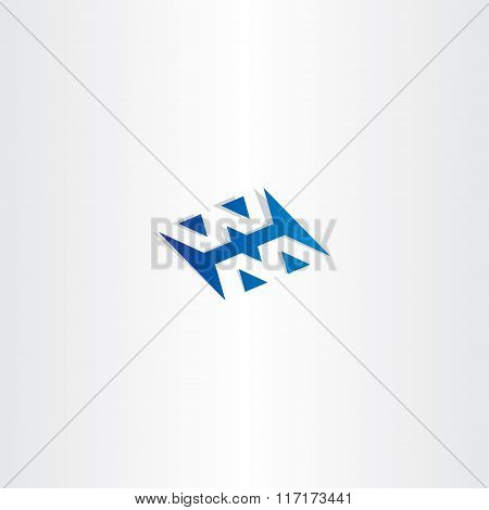 Blue Logo Logotype Letter W And M