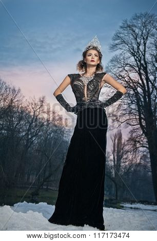 Lovely young lady posing dramatically with long black dress and silver tiara in winter scenery