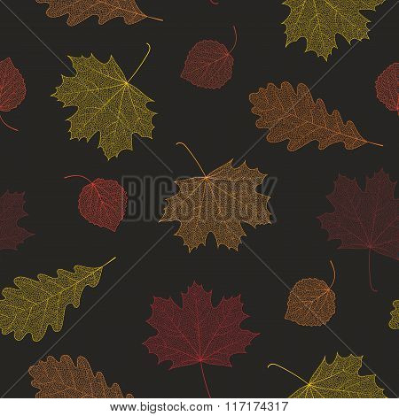Seamless autumn pattern from skeletons of leaves.