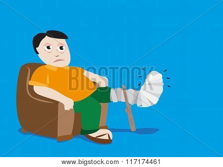 Man with Fractured Leg in a Cast. Editable Clip Art.
