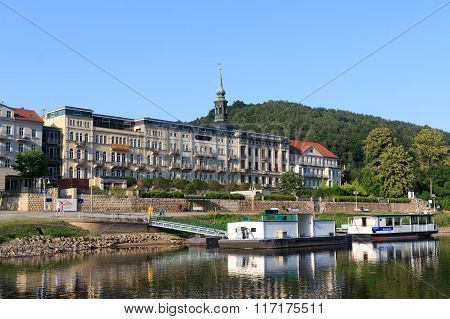 Bad Schandau Elbe Promenade With Hotel Elbresidenz And Landing Pier In Saxon Switzerland