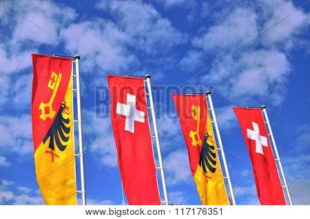 Flags Of Geneva City And Switzerland