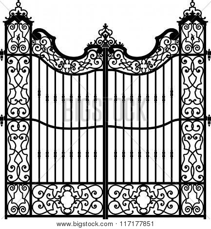Old wrought iron gate full of swirl decorations. Iron bars on the center of the structure. Black and white.