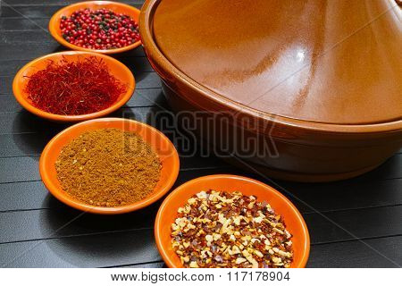 Moroccan Tahine With Four Bowls With Spices