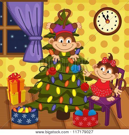 monkey decorating Christmas tree