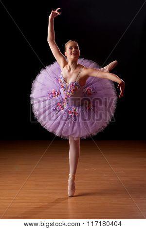 Young Ballerina In Studio Practising