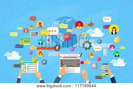 Modern Laptop Tablet Smart Cell Phone Social Network Communication Concept