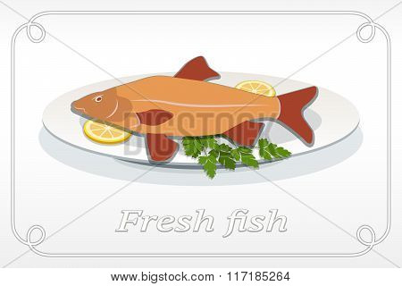 Fish with fins on plate, lemon and parsley icon. Seafood dish symbol. Cyprinidae family. Orange, red