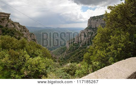 Panoramic View Of Llobregat River Valley From Montserrat Abbey, Spain.
