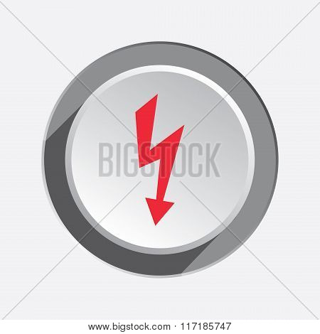 Lightning icon. Power energy symbol. Red sign on round three-dimensional white-gray button. Vector