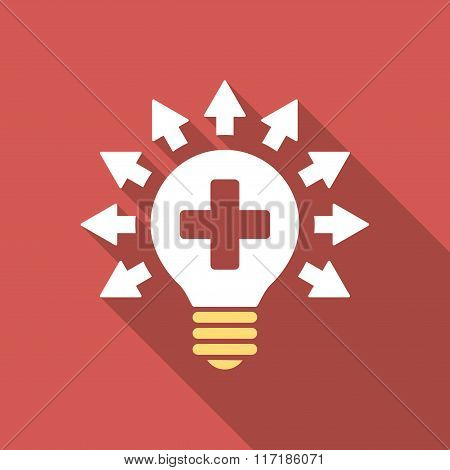 Disinfection Lamp long shadow icon. Style is a light flat symbol on a red square button. poster