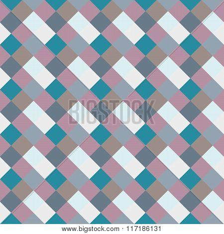 Seamless geometric checked pattern. Diagonal square, braiding, woven line background. Rhombus, patch