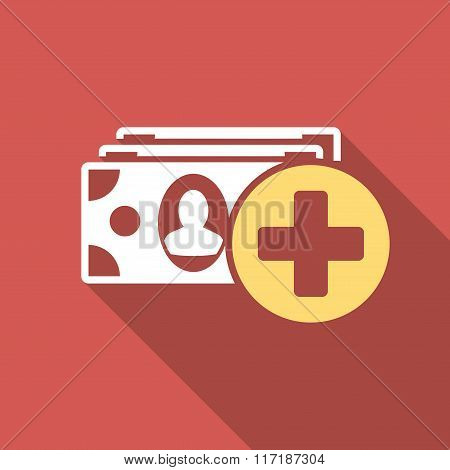 Medical Expences Flat Square Icon with Long Shadow