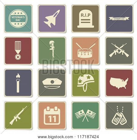 Veterans day vector icons for web sites and user interface poster