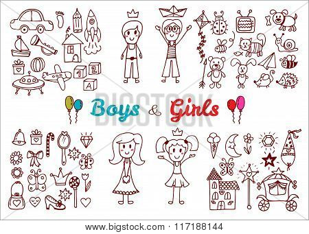 Hand Drawn Baby Boy And Girl Toys Set. Elements From A Child's Life. Doodle Children Drawing