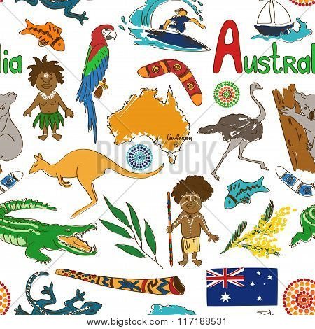 Sketch Australia Seamless Pattern.
