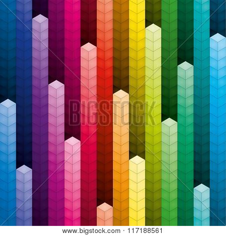 3d Colorful piles of cubes seamless background
