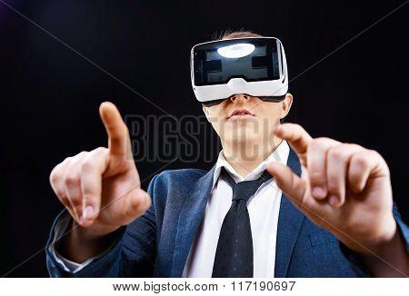 Businessman Uses Virtual Realitiy Vr Head-mounted Display
