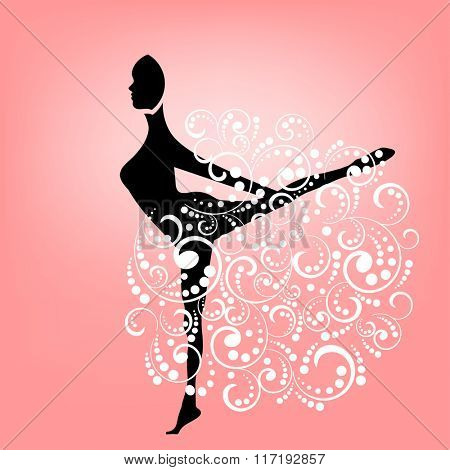 Silhouette of woman in graceful  movement