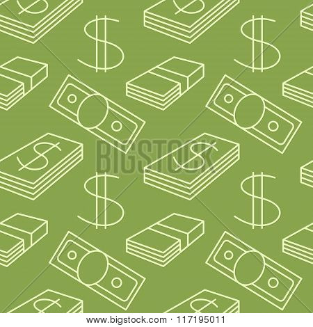 Currency seamless pattern. Dollar sign background. Texture with USD paper money symbols. Light line
