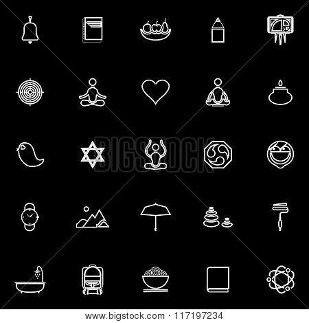 Zen Society Line Icons On Black Background