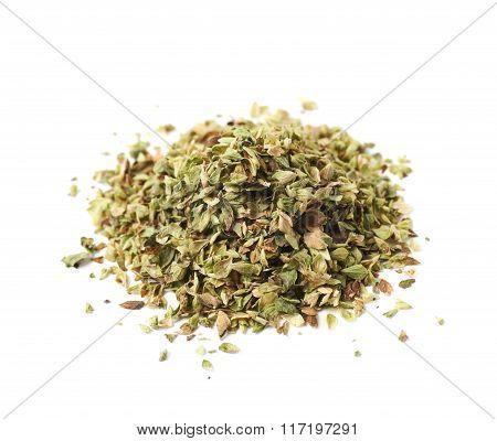 Pile of oregano seasoning isolated