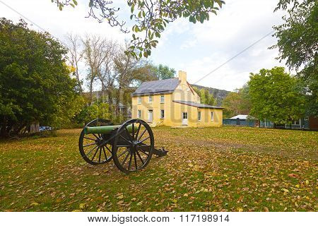 Historic battlefield cannon in Harpers Ferry West Virginia USA.