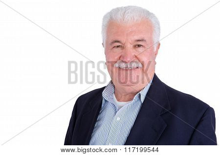 Smiling Handsome Man In Mustache And White Hair