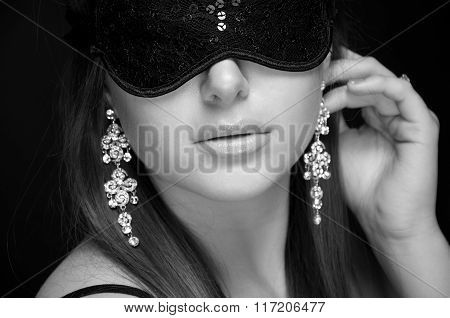 Beautiful Sexy Woman. Her Eyes Closed Mask. Monochrome