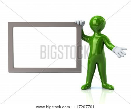 Green Man With Blank Signboard