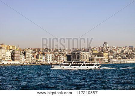 Istanbul ferry. Boat on Bosporus.