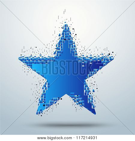 Digital Star Pixel Movement. Star Transform. Vector Stock.