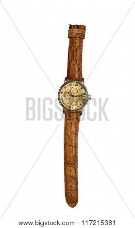 stylish wrist watch gold case isolated on white background